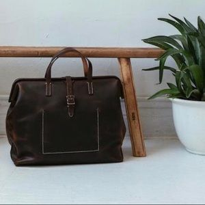 UNISEX Full Grain Leather Travel Brown Duffle Bag